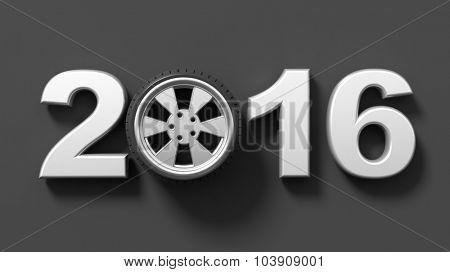 Silver 2016 text with car wheel rim, isolated on black.