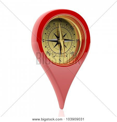 Red pin pointer with compass dial, isolated on white background.