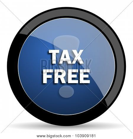 tax free blue circle glossy web icon on white background, round button for internet and mobile app