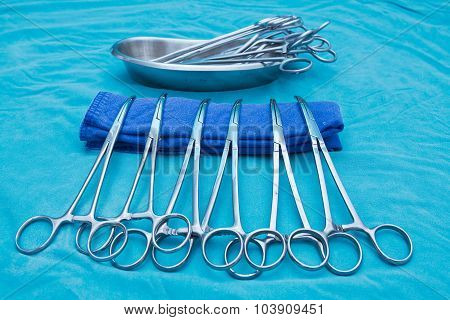 Medical Clamp Instruments Blue Toned