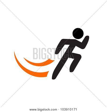 Running Man Vector Logo Template. Black Sportsman Silhouette.