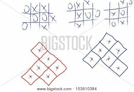 TIC-TAC-toe, dots, children'Board games, blue, red over the white
