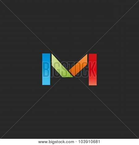 M Letter Colored Logo Template, Colorful Graphic Geometric Shape, Mockup For Business Card
