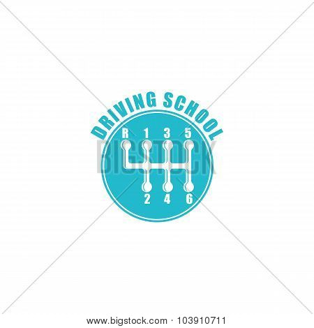 Driving School Logo, Six Gearshift Knob Blue Emblem, Auto Icon