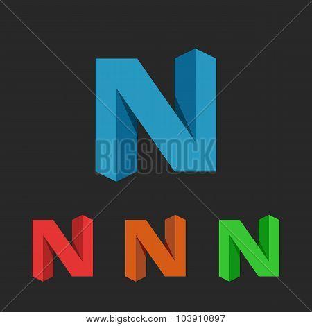 N Letter Logo 3D, Colorful Set Graphic Design Element, Neon Geometric Shape Deco