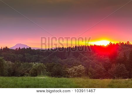 Vibrant sunset around Lake Constance, Germany