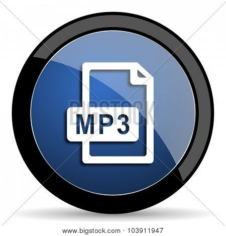 mp3 file blue circle glossy web icon on white background, round button for internet and mobile app