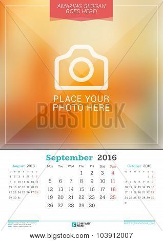 September 2016. Wall Monthly Calendar For 2016 Year. Vector Design Print Template With Place For Pho
