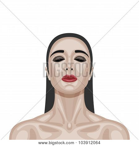 Beauty brunette Woman with closed Eyes