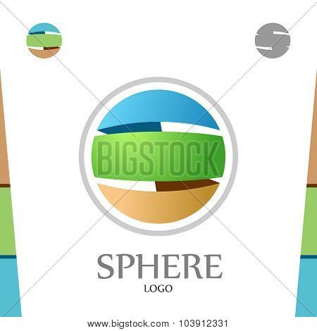 S Letter Logo Template. Abstract Sphere. Globe With Colors Of Soil, Nature And Sky.