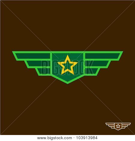 Military Badge With Wings Chinese Army Sign