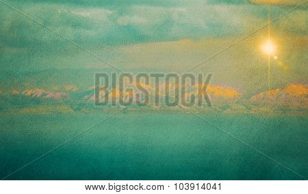 Textured Vintage Image Of Mountains And Sea
