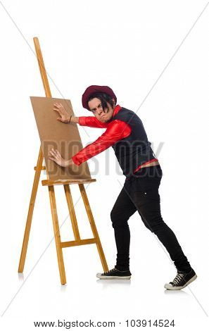 Funny artist isolated on white