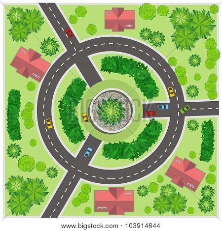 Crossroads In The Village. Top View. Vector Illustration.
