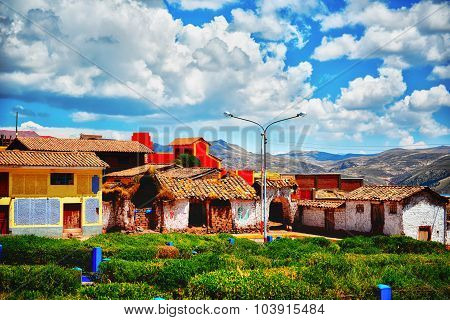 Village Up High In Peruvian Mountains