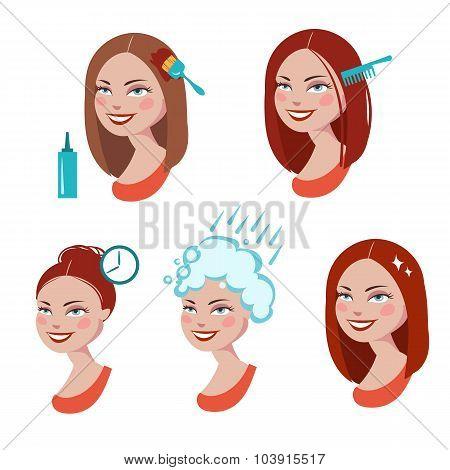 Hair dyeing process.