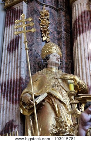 LEPOGLAVA, CROATIA - SEPTEMBER 21: Saint Albert the Great on the main altar of Holy Cross, parish Church of the Immaculate Conception of the Virgin Mary in Lepoglava on September 21, 2014