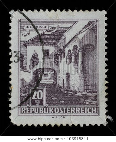 AUSTRIA - CIRCA 1957: A stamp printed in Austria shows Old Courtyard, Morbisch, circa 1957.