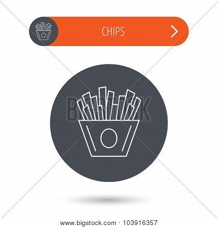 Chips icon. Fries fast food sign.