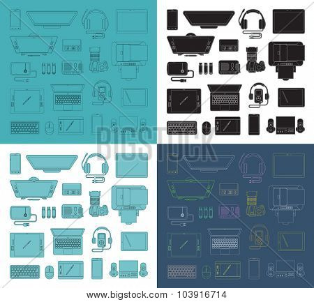 Set of  thin line high-tech icons. Trendy linear  vector icons. Collection of vector outlined  computer and communication electronic devices