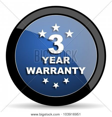 warranty guarantee 3 year blue circle glossy web icon on white background, round button for internet and mobile app