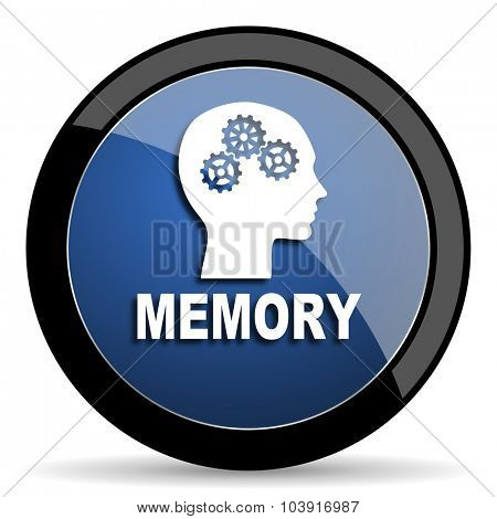 memory blue circle glossy web icon on white background, round button for internet and mobile app