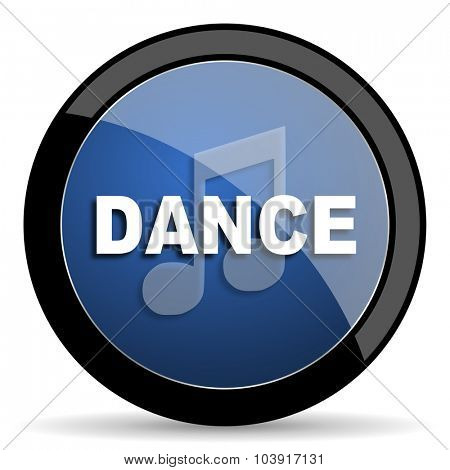 dance music blue circle glossy web icon on white background, round button for internet and mobile app