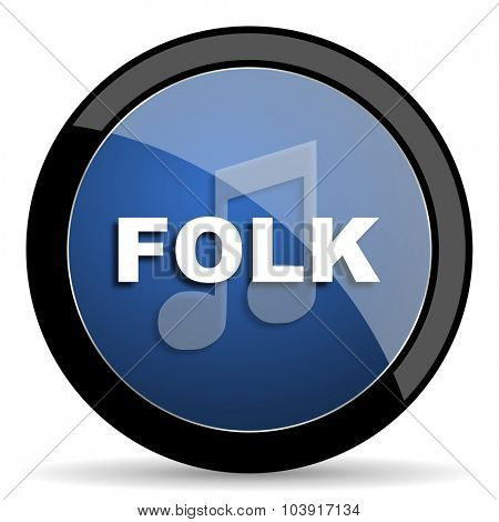 folk music blue circle glossy web icon on white background, round button for internet and mobile app