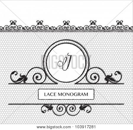 Letter J black lace monogram, stitched on seamless tulle background with antique style floral border. EPS10 vector format.