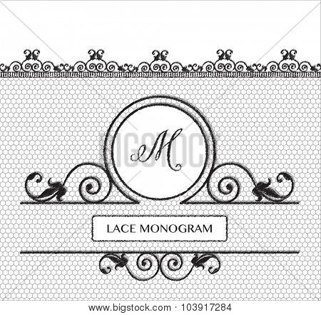Letter M black lace monogram, stitched on seamless tulle background with antique style floral border. EPS10 vector format.