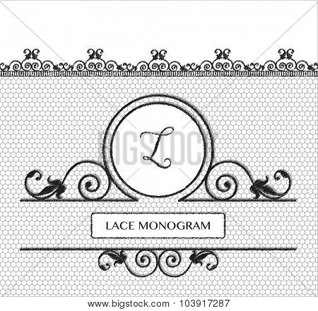 Letter L black lace monogram, stitched on seamless tulle background with antique style floral border. EPS10 vector format.