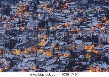 Wintry Dusk Aerial View In Brasov