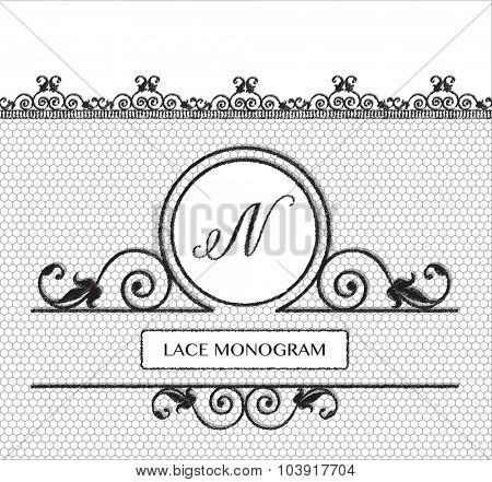 Letter N black lace monogram, stitched on seamless tulle background with antique style floral border. EPS10 vector format.