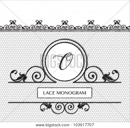 Letter O black lace monogram, stitched on seamless tulle background with antique style floral border. EPS10 vector format.