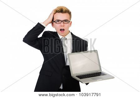 Young businessman with laptop isolated on white
