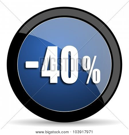 40 percent sale retail blue circle glossy web icon on white background, round button for internet and mobile app