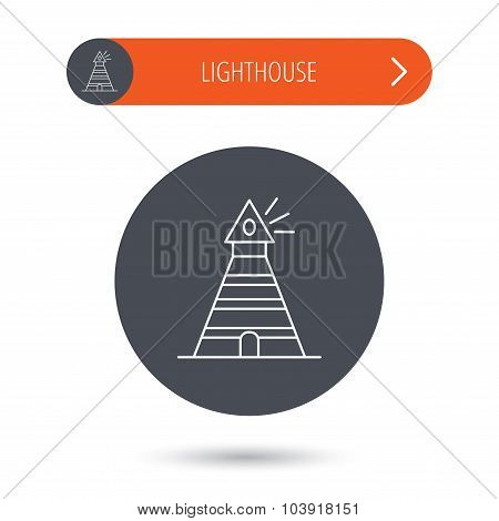 Lighthouse icon. Searchlight signal sign.