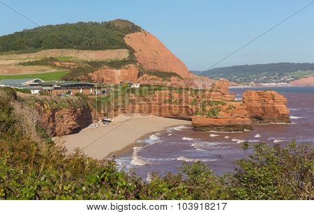 Ladram Bay beach Devon England UK located between Budleigh Salterton and Sidmouth Jurassic coast