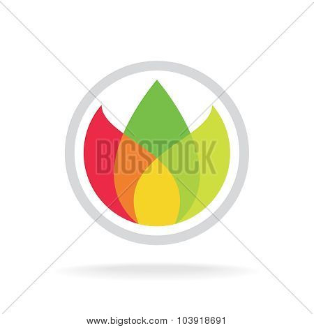 Three Color Leaves Logo Template. Floral, Ecology Or Tea Concept. Transparency Are Flattened.