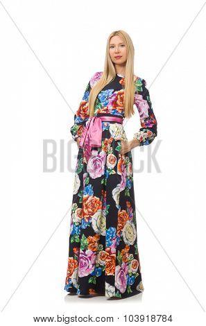 Girl in long flower dress isolated on white