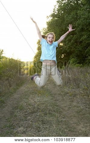 Young Jumping Girl Portrait