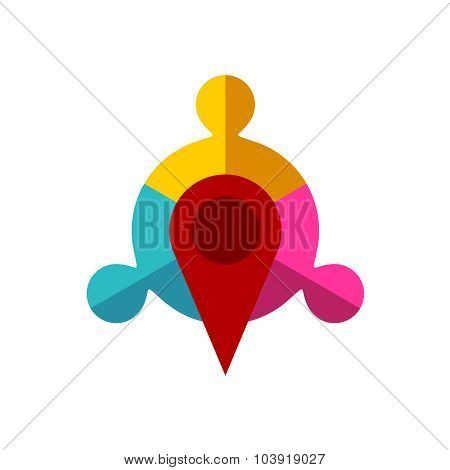 Meeting Point Logo Template. Map Pointer With Team Of Three Sign.