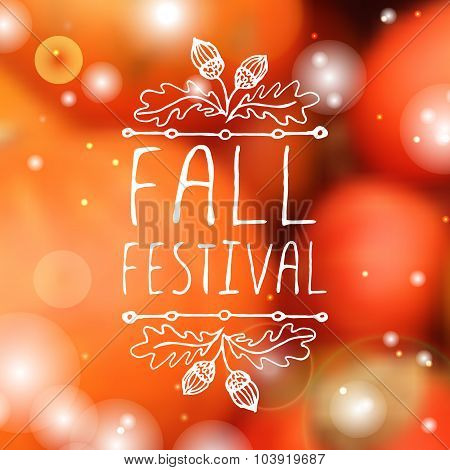 Fall festival - typographic element