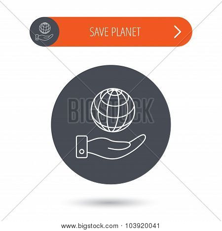 Save planet icon. Hand with globe sign.