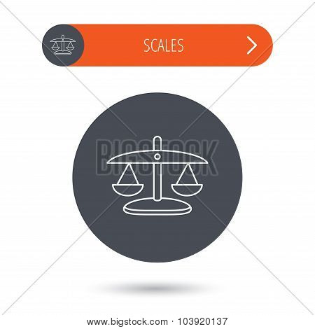 Scales of Justice icon. Law and judge sign.