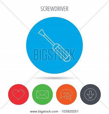 Screwdriver icon. Repair or fix tool sign.