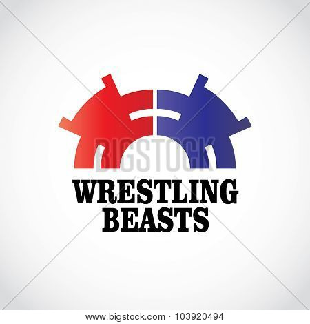 Wrestling Logo Template. Two Stomping Bears.