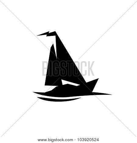 Sailing Boat Logo. Flat Symbol With Flag At The Top.
