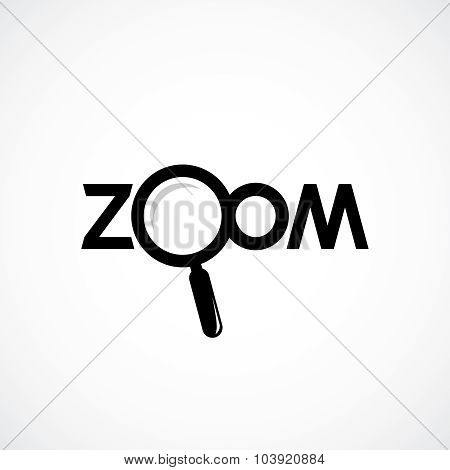 Zoom Icon With Letters. Magnifying Glass Are Separate Object.