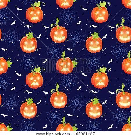 Halloween Seamless Vector Pattern With Pumpkins, Bats And Spider Webs